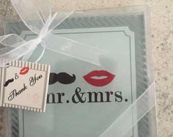 Mr&mrs glass coasters