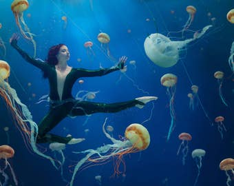 """Underwater Photography - Dance & Ocean Conservation - """"Jellyfish Soup"""" wide - 8x12+"""