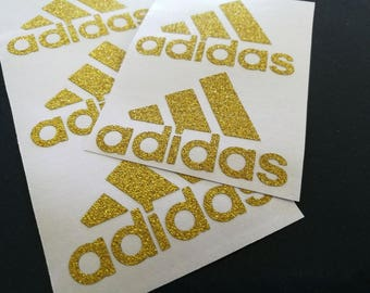 12 glitter adidas stickers, gold adidas decals, bling party decorations, gold envelope seals