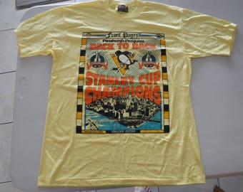 vintage Pittsburgh Penguins Back to Back stanley cup champion t shirt XL