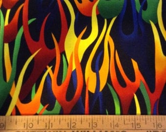 Rainbow flames cotton fabric by the yard