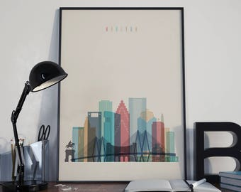 Houston Art Houston Watercolor Houston Multicolor Houston Wall Art Houston Wall Decor Houston Home Decor Houston City Houston Skyline Print