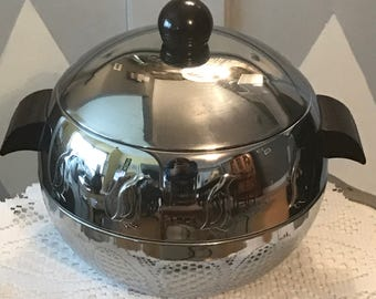 Vintage Mid Century Stainless Steel Penguin Ice Bucket by West Bend, Hot & Cold Server