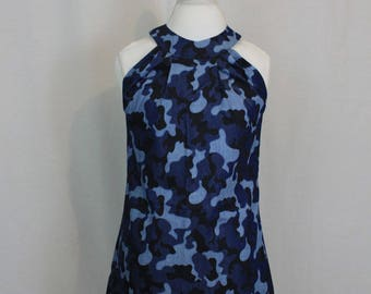 Denim halter neck dress in camouflage, size Small