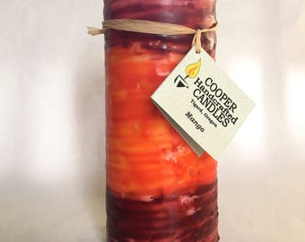 """7"""" Tall Mango Scented Round Pillar Candle - Red Orange Red"""