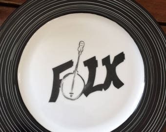 "Music series dish ""Folk"". Hand painted black & white with vinyl LP grooves design. Ready to ship."