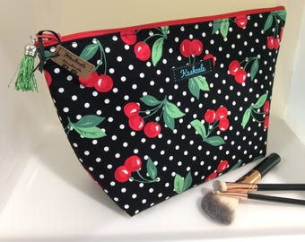 Cosmetic Bag, Make up Bag, Toiletry Bag, Travel Bag, Large Deep Bag. Made in Australia, Black with Red Cherries and White Spots Print, Gift.