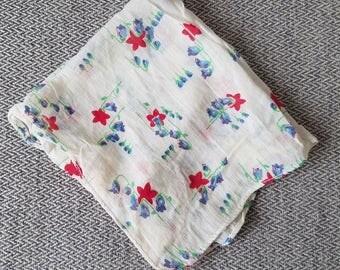 Vintage Handkerchief Blue/Red Flowers
