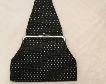 Unique Courtine de Paris Vintage Black Polka Dot Purse