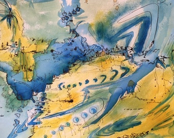Ancient Map - original watercolor painting
