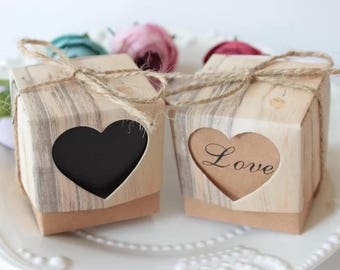 2 x Vintage look kraft paper party favour/heart and love gift box/wedding favour/gift box