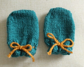 Teal Baby Drawstring Thumbless Newborn Mittens