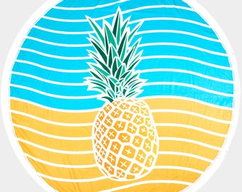 Pineapple Waves Beach Towel