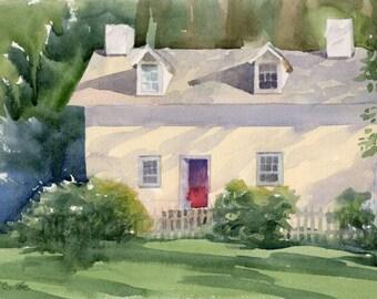 """Original watercolor painting """"Farmhouse"""" landscape plein air Tamanend Park"""