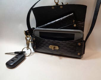 Leather iPhone / Smart Phone and Essentials Purse Handmade Adjustable Strap Black Basket-weave 1 Crossbody Clasp Gift Mother