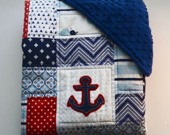 Nautical baby quilt with minky backing, and hand sewn anchor appliqués - Sea theme - Navy Blue - Red - White - Modern - Homemade