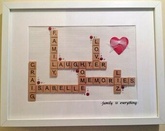 """Scrabble Tile """"Heart"""" Frame"""