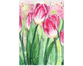 Tulip Watercolor Painting Fine Art Print
