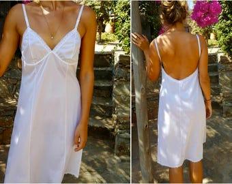 White, Kayser, Full Backless Slip, Lace Trim, Vintage, NOS, Lingerie, Full slip
