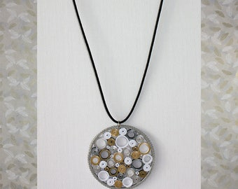 Necklace with paper pendant. Paper jewelry. Paper jewellery.