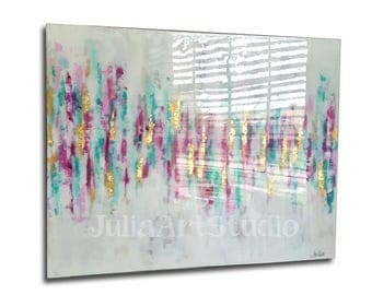 Modern Art, Original canvas art, Gold leaf, Abstract Painting, with epoxy resin coating(optional)