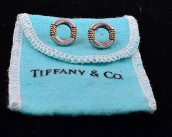 Authentic Tiffany & Co. 14K and Sterling Twisted Rope Circle Earrings