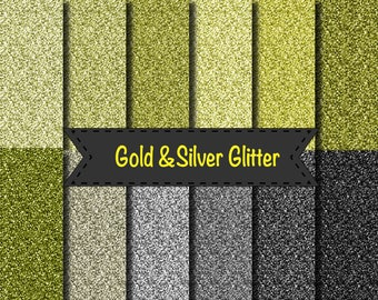 Gold Silver glitter papers scrapbooking background wedding party invitations gift craft print 12x12""