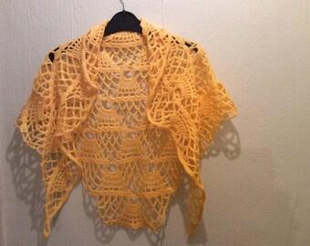 Handmade yellow crochet shawl