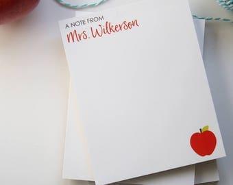 Christmas Teacher Gift - Personalized Teacher Notepad - Teacher Gift - Apple Teacher Notepad - Style: Apple Corner