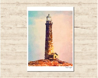 Lighthouse Watercolour Painting Postcard Poster Art Print Q207