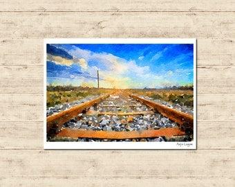 Railway Watercolour Painting Postcard Poster Art Print Q241
