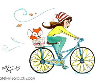Bicycle and Fox Print