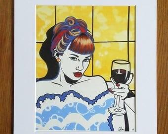 Pop art print, lichtenstein, warhol style, modern art, urban art, sold with mount sized 28x36cm