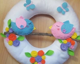 Outdoor hand stitched felt Garland theme spring with birds and flower branch. Customizable. Felt Handmade Door Wall Decoration