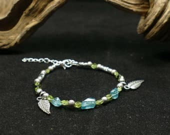 Bracelet blue Apatite )( Peridot )( black Spinel )( completely natural precious gemstone silver plated jewelry leave feather gift (#BJ2)