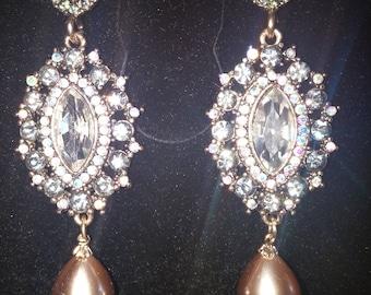 SALE Pearl & Crystal Drop Earrings, Free Shipping.