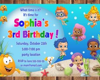 Bubble Guppies Invitation, Bubble Guppies Birthday Invitation, Bubble Guppies, Bubble Guppies Printable, Bubble Guppies Card -digital a