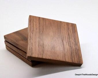 Wood Coasters - Walnut Coaster Set - Solid Walnut Hardwood Coasters -Christmas Gift - Housewarming Gift