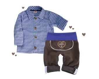 SET leather pants shirt costume pants, blue, 56-86