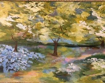 Original acrylic painting Springtime