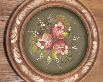 Vintage Handpainted Tole Wooden Plate