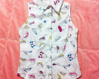 White Cotton Vintage Kitsch Print Sleeveless Button Up Shirt