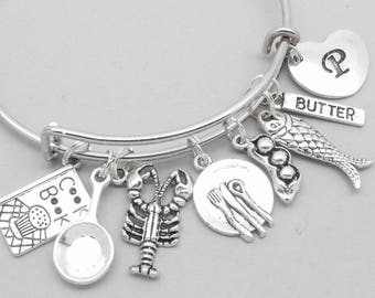 Chef charm bracelet | cooking bracelet | chef bracelet | chef gift | personalised cook bracelet | cooking gift | initial letter