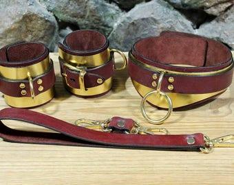 ADULT - BDSM Golden Bondage Set / golden leather / bdsm golden set / exclusive bdsm bondage set / sex bondage set