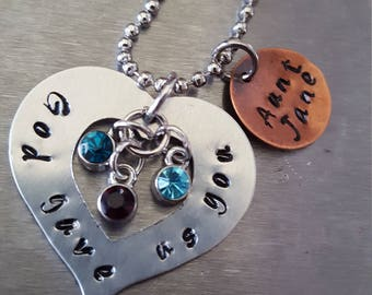 Handstamped personalized necklace for a special person.  Made to order with birthstones and name.  Great for Aunt, Grandmother or Godmother!