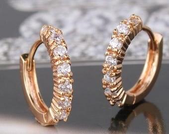 18ct Yellow gold filled Topaz beautiful Huggie earrings hoop White sapphire