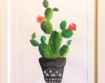 Jar of prickly pear in flower-drawing prickly pear-pink flowers-mixed Painting on cardboard-framed Painting