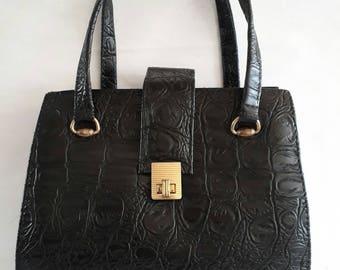 Chic Frame HandBag/Purse with bellows Vintage Black Crocodile look Vegan Leather