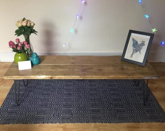 Handcrafted Pine and Steel Coffee Table