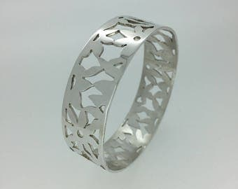 Silver flower bangle